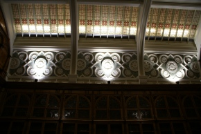 Original stained glass roof of Shakespeare Memorial Library