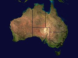 By derivative work: Harpagon (talk) Image:Australia_satellite_plane.jpg: created by Image:Australia_location_map.png: Diceman [CC-BY-SA-3.0 (http://creativecommons.org/licenses/by-sa/3.0)], via Wikimedia Commons
